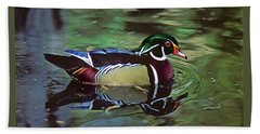 Beach Towel featuring the photograph Wood Duck by Marie Hicks