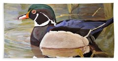 Wood Duck On Pond Beach Sheet by Laurie Rohner