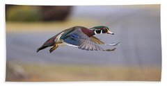 Wood Duck On The Move Beach Sheet