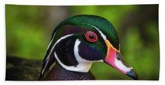 Wood Duck Portrait Beach Sheet by Mitch Shindelbower