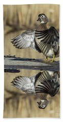 Beach Towel featuring the photograph Wood Duck Reflection by Mircea Costina Photography
