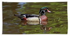 Beach Towel featuring the photograph Wood Duck by Sandy Keeton