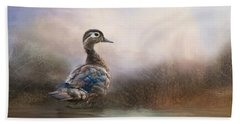 Beach Towel featuring the photograph Wood Duck Too by Robin-Lee Vieira