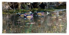 Wood Ducks In Autumn Beach Sheet