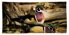 Wood Ducks In Autumn Waters Beach Towel