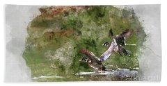 Wood Ducks In Flight Beach Sheet