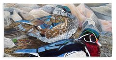 Wood Ducks  Beach Towel by Marilyn  McNish