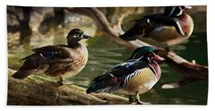 Wood Ducks Posing On A Log Beach Towel