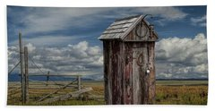 Wood Outhouse Out West Beach Sheet by Randall Nyhof