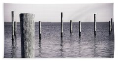 Beach Towel featuring the photograph Wood Pilings In Monotone by Colleen Kammerer