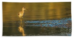Beach Towel featuring the photograph Wood Sandpiper At Sunset by Jivko Nakev