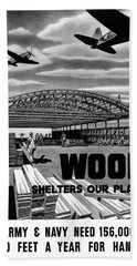 Beach Sheet featuring the painting Wood Shelters Our Planes - Ww2 by War Is Hell Store