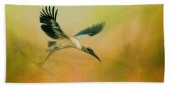 Beach Sheet featuring the photograph Wood Stork Encounter by Marvin Spates