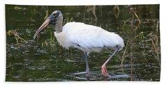 Wood Stork Through The Marsh Beach Towel by Carol Groenen