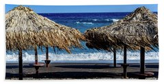 Wood Thatch Umbrellas On Black Sand Beach, Perissa Beach, In Santorini, Greece Beach Sheet