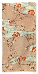 Woodblock Print Of Fall Leaves Beach Towel