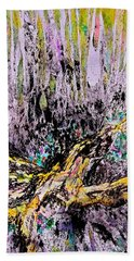 Beach Towel featuring the painting Wooded Growth by Carolyn Rosenberger