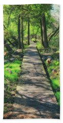 Wooded Path - Spring At Retzer Nature Center Beach Sheet by Jennifer Rondinelli Reilly - Fine Art Photography
