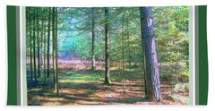 Wooded Path With Borders Beach Towel by Shirley Moravec
