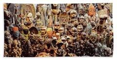 Wooden African Carvings Beach Towel