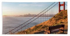 Wooden Bench Overlooking Downtown San Francisco With The Golden  Beach Towel