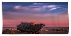 Wooden Boat Beach Sheet by Ralph Vazquez