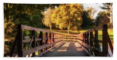 Beach Towel featuring the photograph Wooden Bridge On The Rye Water - Maynooth, Ireland by Barry O Carroll