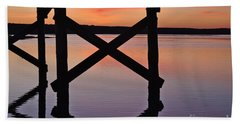 Wooden Bridge Silhouette At Dusk Beach Sheet