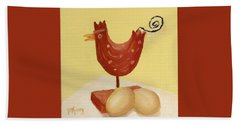 Wooden Chicken And 2 Brown Eggs Beach Towel