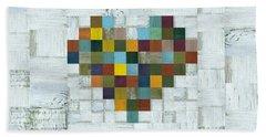 Beach Towel featuring the digital art Wooden Heart 2.0 by Michelle Calkins