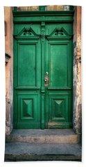 Wooden Ornamented Gate In Green Color Beach Towel by Jaroslaw Blaminsky