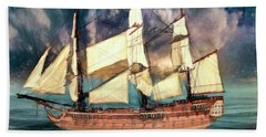 Wooden Ship Beach Towel by Michael Cleere