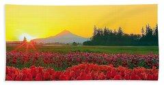 Wooden Shoe Tulip Fields Sunrise Beach Towel
