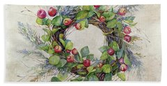 Woodland Berry Wreath Beach Towel by Colleen Taylor