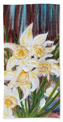 Beach Towel featuring the painting Woodland Daffodils by Judith Rhue