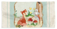 Woodland Fairy Tale - Fox Owl Mushroom Forest Beach Towel