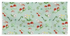 Woodland Fairy Tale - Red Mushrooms N Owls Beach Towel by Audrey Jeanne Roberts