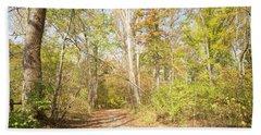 Woodland Path, Autumn, Montgomery County, Pennsylvania Beach Towel