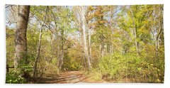 Woodland Path, Autumn, Montgomery County, Pennsylvania Beach Sheet by A Gurmankin