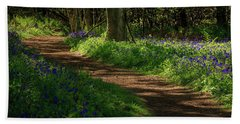 Woodland Path Lined By Bluebells Beach Sheet