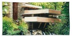 Fallingwater-a Woodland Retreat By Frank Lloyd Wright Beach Towel by Barbara Jewell