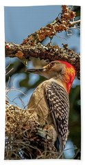 Woodpecker Closeup Beach Towel