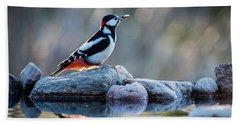 Woodpecker In Backlight Beach Towel