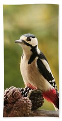 Woodpecker In Winter Beach Towel