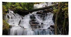 Woods And Waterfall Beach Towel