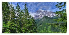 Woods Surrounding Mt. Rainier Beach Towel