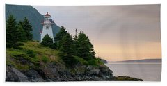 Beach Sheet featuring the photograph Woody Point Lighthouse - Bonne Bay Newfoundland At Sunset by Art Whitton
