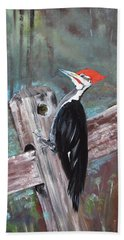 Beach Towel featuring the painting Woody - The Pileated Woodpecker by Jan Dappen