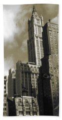 New York Woolworth Building - Vintage Photo Art Print Beach Sheet by Art America Gallery Peter Potter