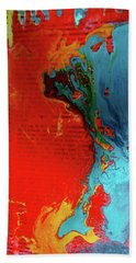 Beach Towel featuring the painting Words Abstract by Carolyn Repka